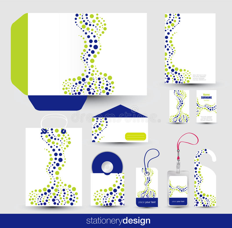 Jogo do projeto dos artigos de papelaria ilustração stock