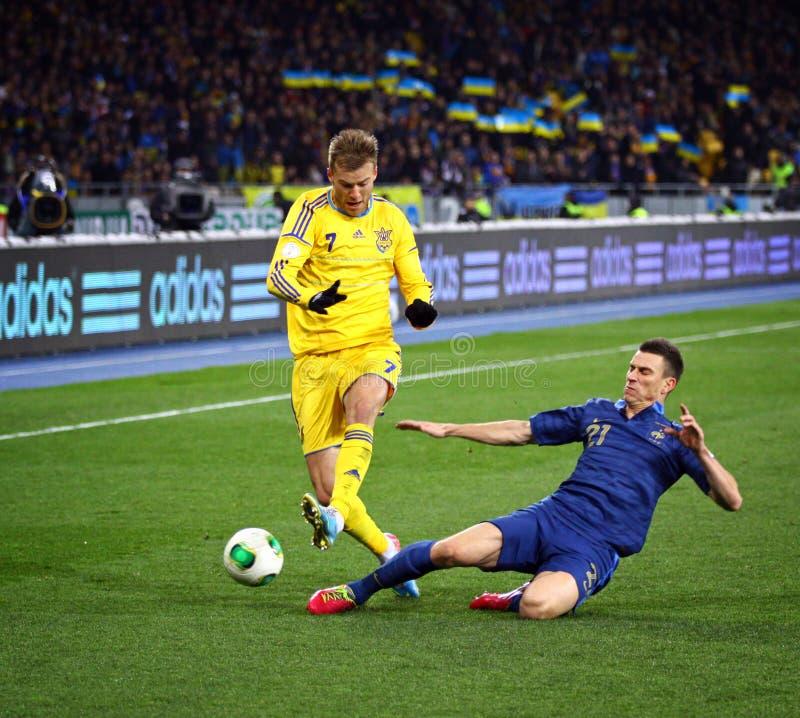 Jogo 2014 do qualificador do campeonato do mundo de FIFA Ucrânia contra França foto de stock royalty free
