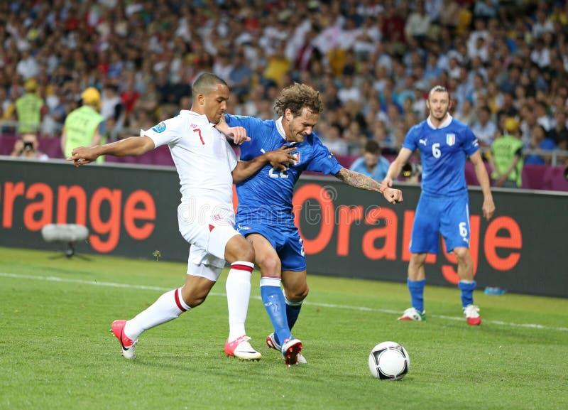 Jogo 2012 do quartos de final do EURO do UEFA Inglaterra v Itália imagens de stock royalty free
