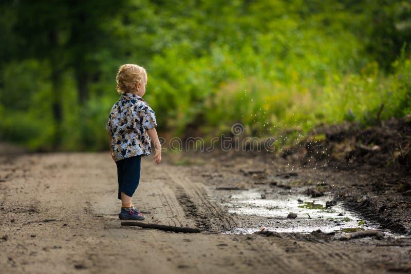 Jogo do rapaz pequeno exterior na floresta do verão imagens de stock royalty free