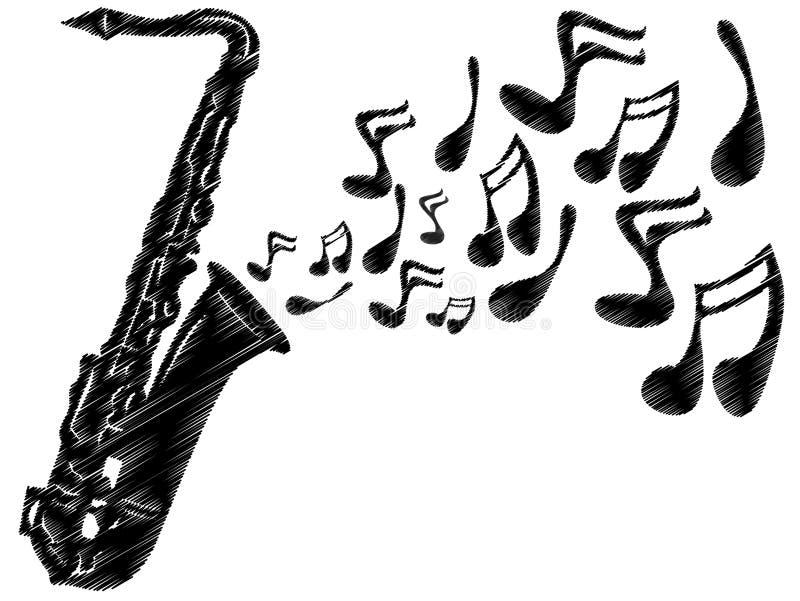 Jogo do saxofone ilustração stock