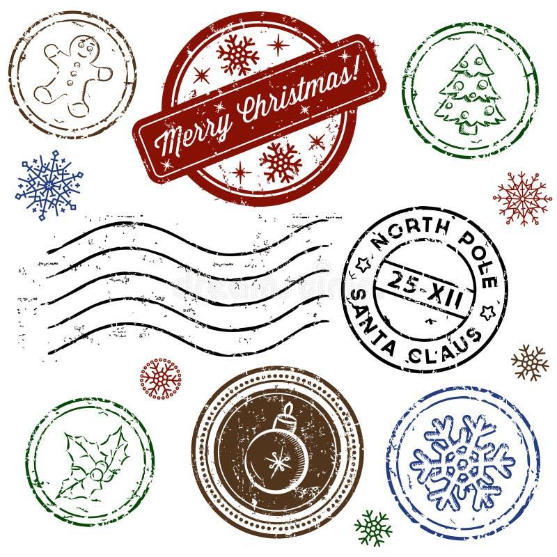 Jogo do selo do Natal isolado no branco. Vetor ilustração royalty free