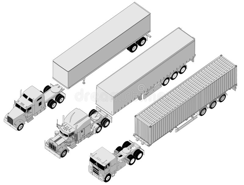 Jogo do semi-caminhão do vetor ilustração stock