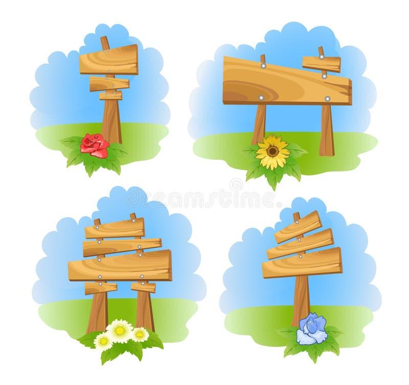 Jogo do sinal de madeira ilustração do vetor