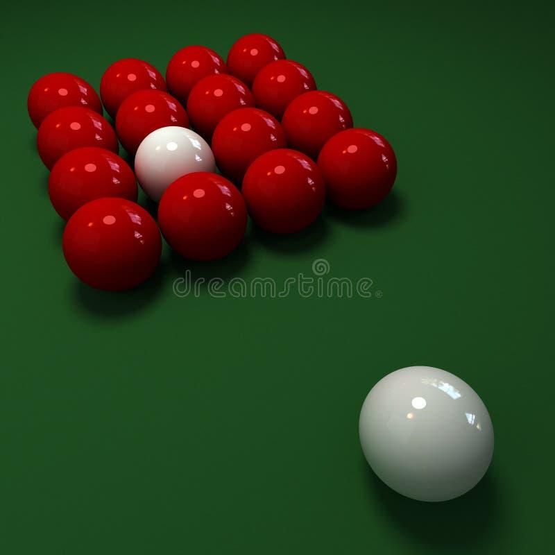Jogo do Snooker com as esferas vermelhas e brancas ilustração do vetor