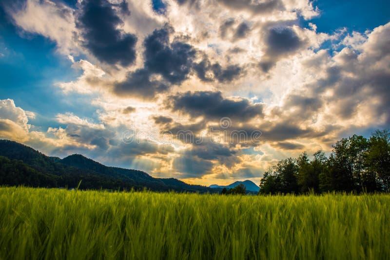Jogo do sol e das nuvens fotografia de stock