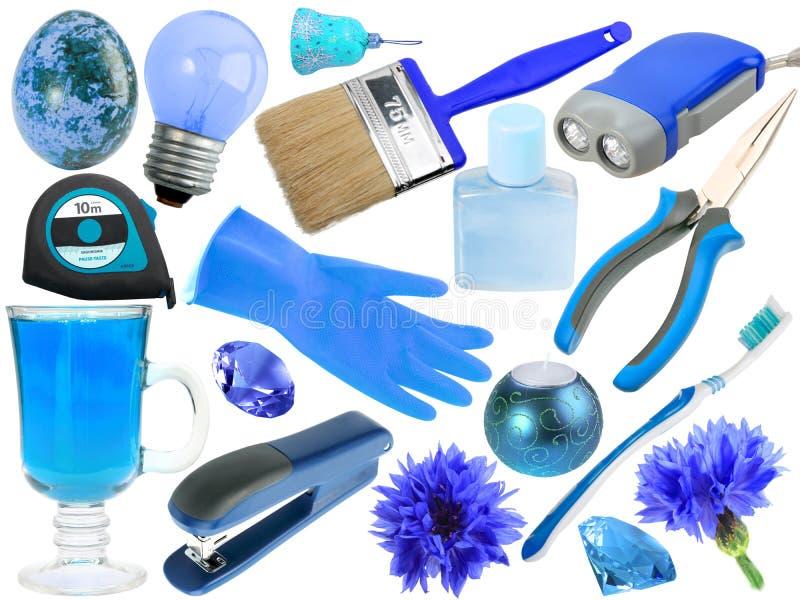 Jogo do sumário de objetos azuis fotografia de stock