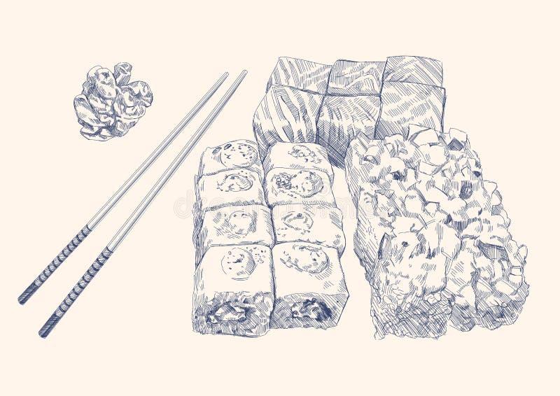 Jogo do sushi ilustração stock