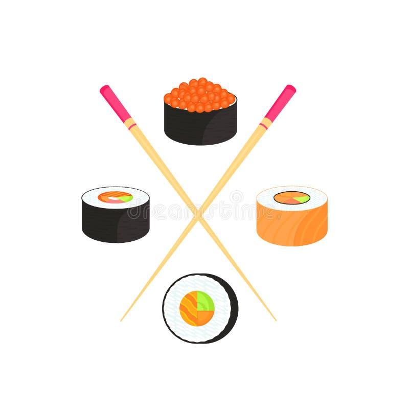 Jogo do sushi Rolls com o caviar de peixes vermelhos, com salmões Alimento japon?s tradicional ilustração royalty free