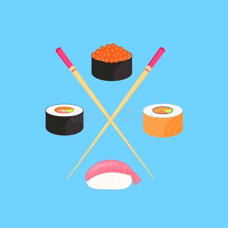 Jogo do sushi Rolls com o caviar de peixes vermelhos, com salmões e nigiri com camarão Alimento japon?s tradicional ilustração royalty free