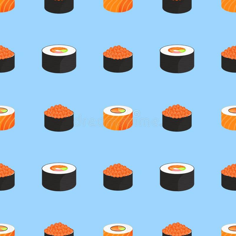 Jogo do sushi Rolls com o caviar de peixes vermelhos, com salm?es Alimento japon?s tradicional Teste padr?o sem emenda ilustração do vetor