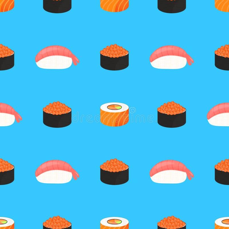 Jogo do sushi Rolls com o caviar de peixes vermelhos, com salm?es E Alimento japon?s tradicional Teste padr?o sem emenda ilustração royalty free