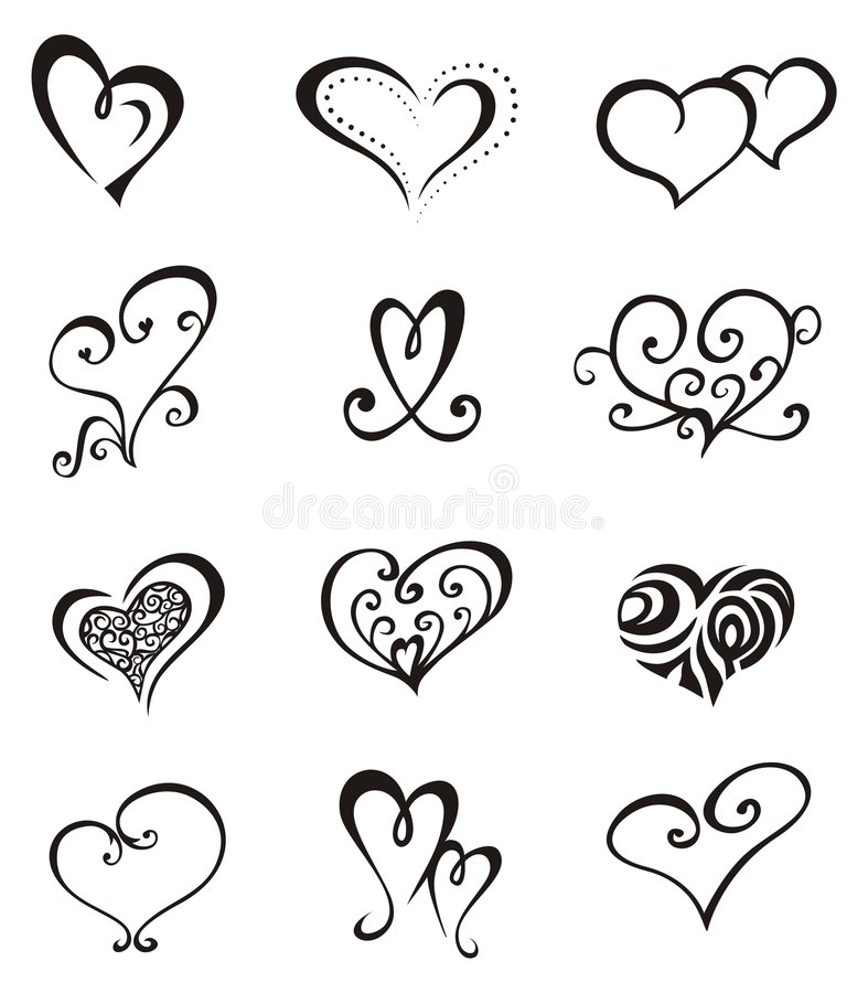 Jogo do tatuagem do â dos corações ilustração stock