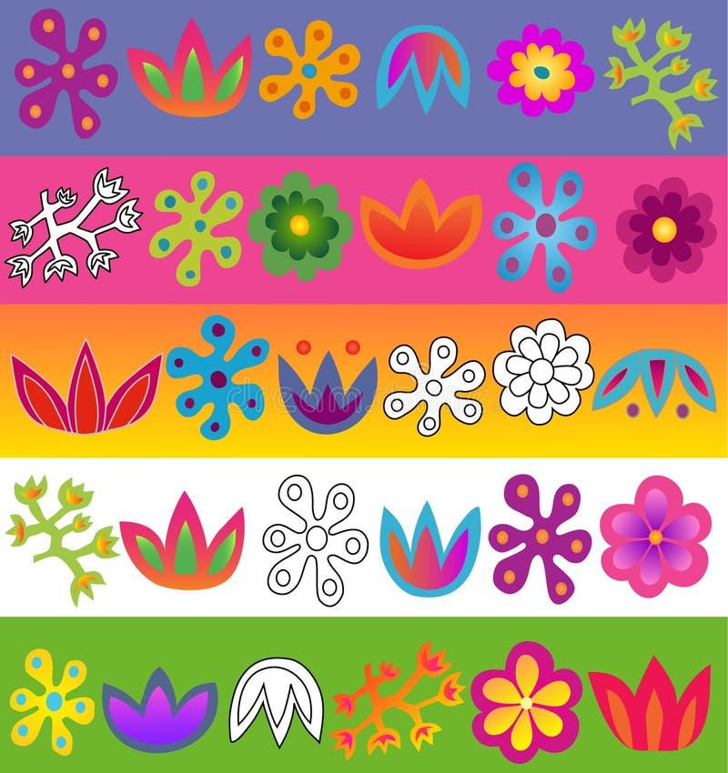 Jogo do teste padrão de flores do vetor ilustração stock