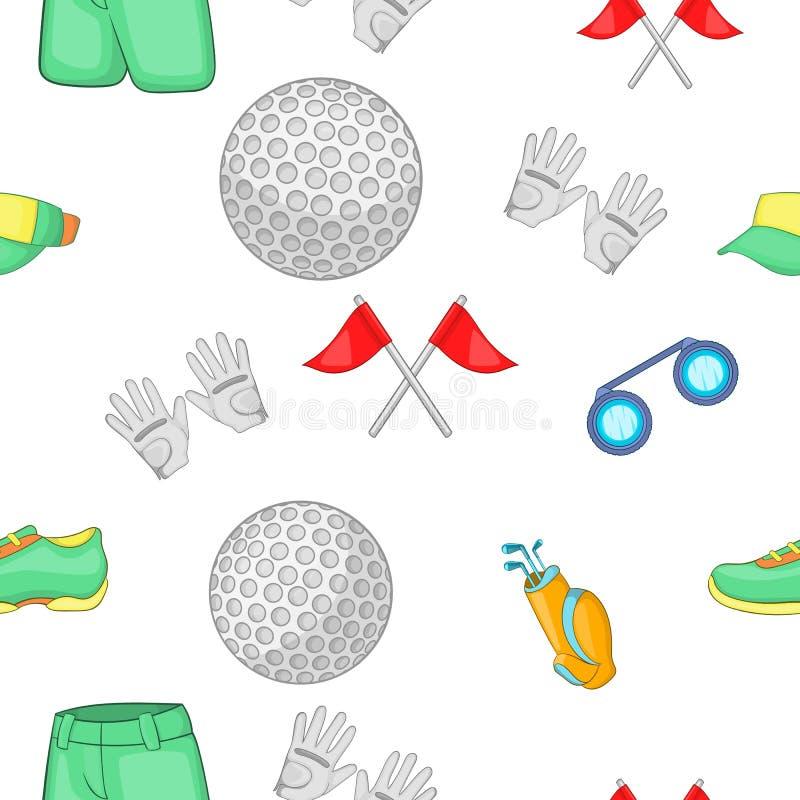 Jogo do teste padrão do golfe, estilo dos desenhos animados ilustração stock