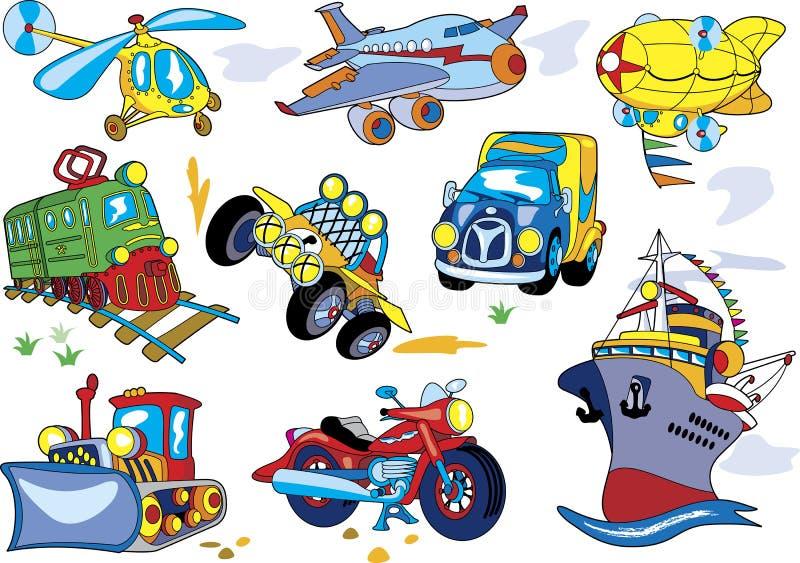 Jogo do transporte dos desenhos animados ilustração stock