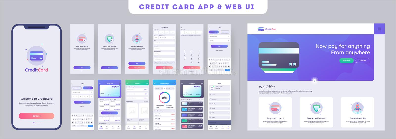 Jogo do ui do app dos cartões em linha do pagamento ou de crédito para o app móvel responsivo com menu do Web site ilustração stock