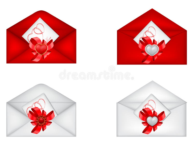 Jogo do Valentim decorativo de Saint \ 'dos envelopes de s ilustração royalty free