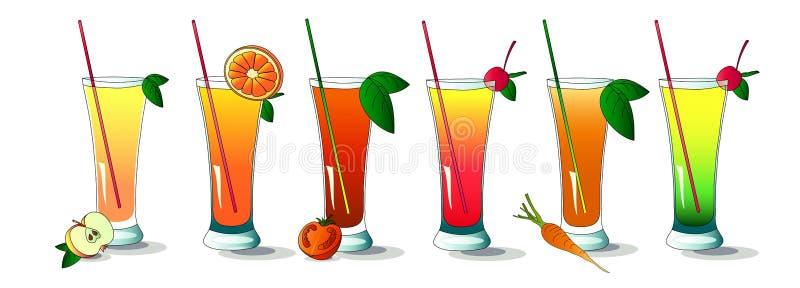 Jogo do verão e de bebidas saudáveis ilustração royalty free