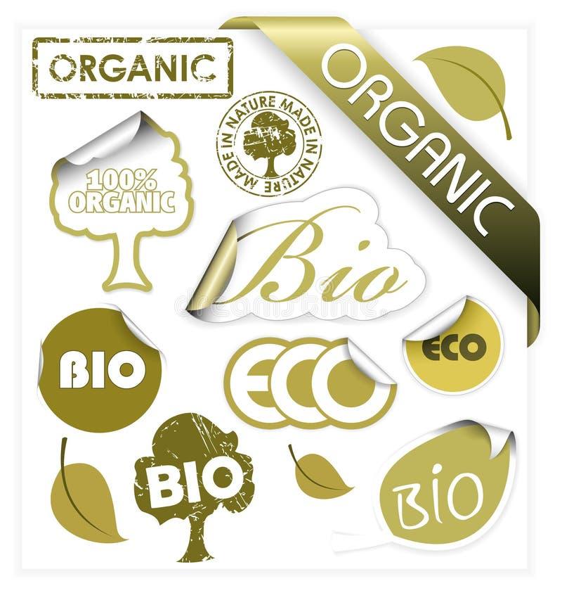 Jogo do vetor bio, eco, elementos orgânicos ilustração stock