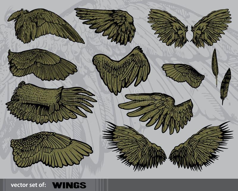 Jogo do vetor das asas ilustração stock