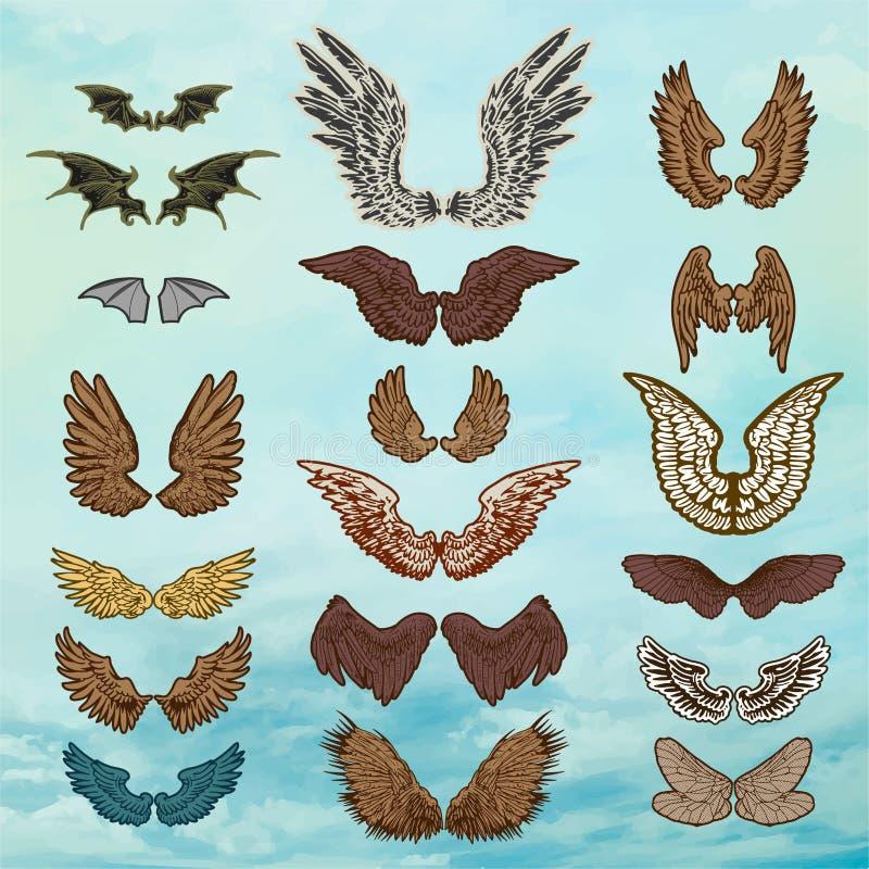 Jogo do vetor das asas ilustração royalty free