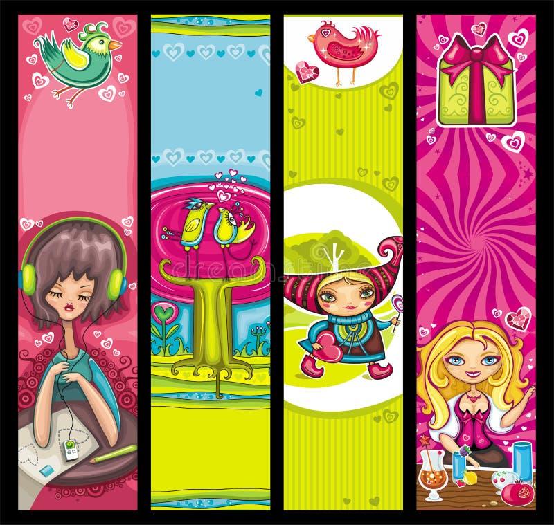 Download Jogo Do Vetor Das Bandeiras Do Valentim Ilustração do Vetor - Ilustração de decorativo, fundo: 12802151
