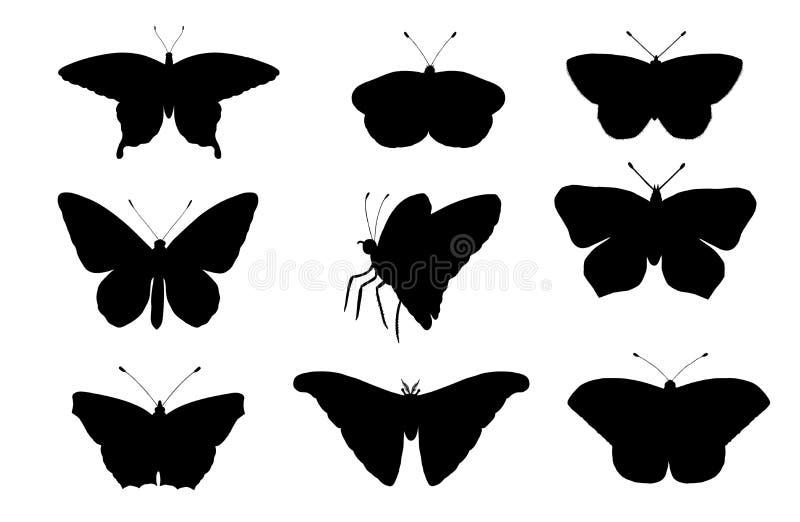 Jogo do vetor das borboletas ilustração stock