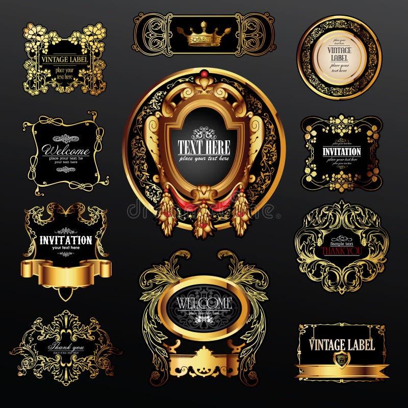 Jogo do vetor das etiquetas com elementos do ouro ilustração stock