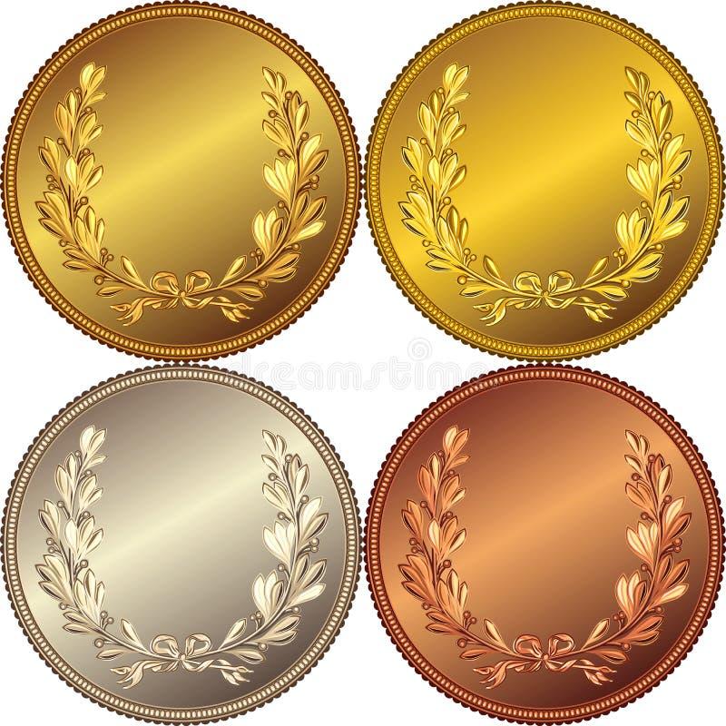 jogo do vetor das moedas do ouro, da prata e do bronze ilustração royalty free