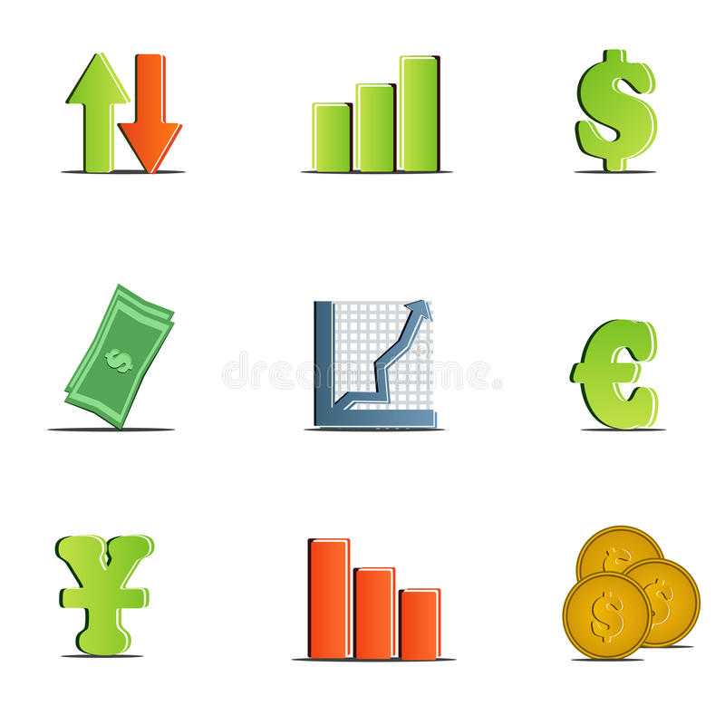 Jogo do vetor de ícones da finança ilustração do vetor