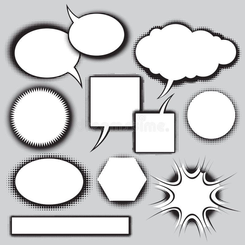 Jogo do vetor de bolhas do discurso do estilo da banda desenhada ilustração stock