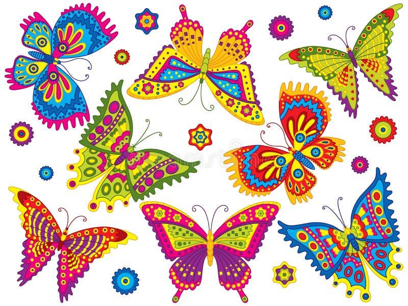 Jogo do vetor de borboletas coloridas ilustração stock
