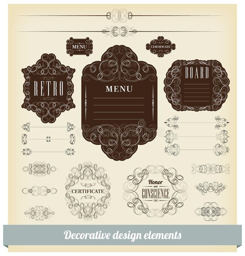 Jogo do vetor de elementos caligráficos do projeto ilustração stock