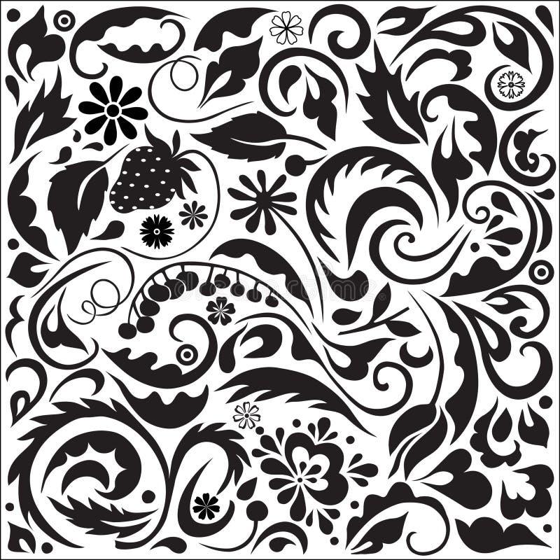 Jogo do vetor de elementos florais ilustração do vetor