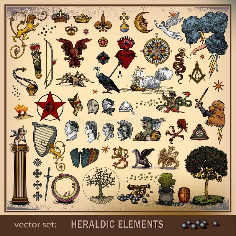 Jogo do vetor de elementos heráldicos ilustração do vetor