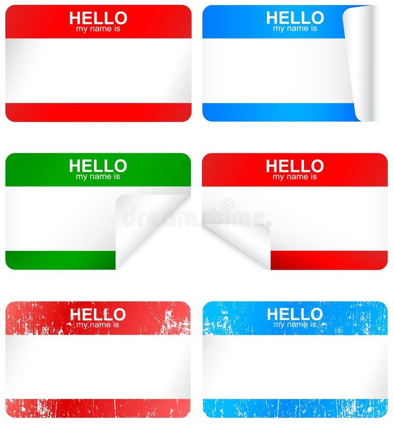 Jogo do vetor de emblemas conhecidos adesivos em branco. ilustração stock