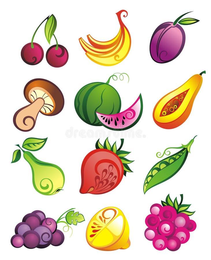 Jogo do vetor de frutas frescas, de vegetais e de bagas ilustração stock