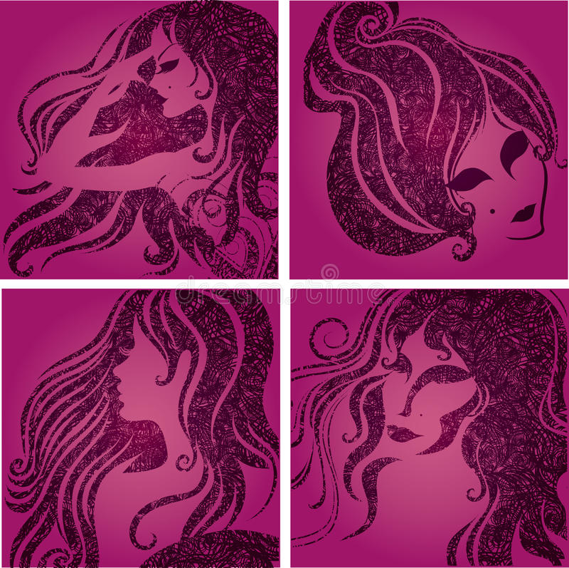 Jogo do vetor de retratos da cor-de-rosa do close up ilustração stock