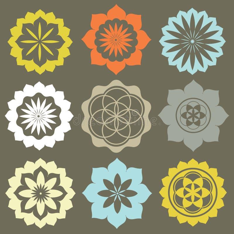 Jogo do vetor de símbolos da flor imagens de stock