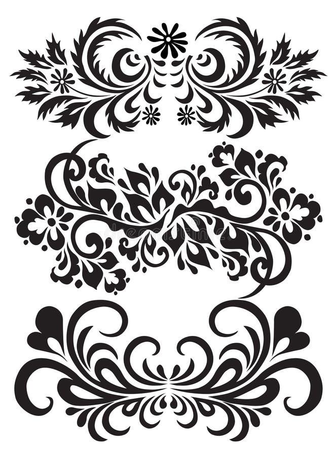 Jogo do vetor de testes padrões florais ilustração do vetor