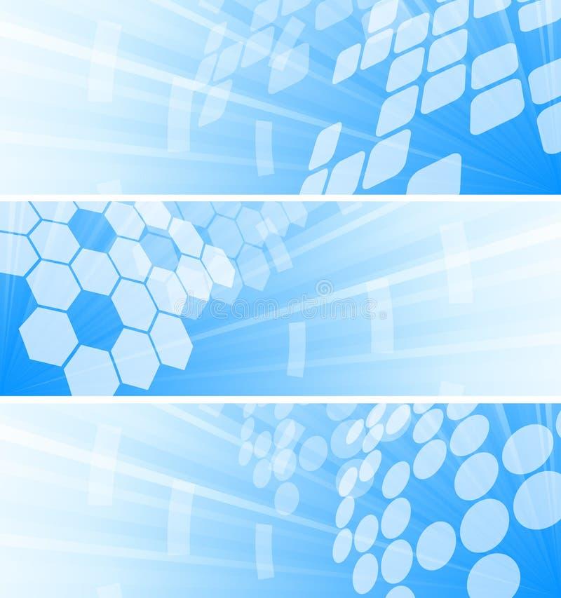 Jogo do vetor de três bandeiras da tecnologia ilustração stock