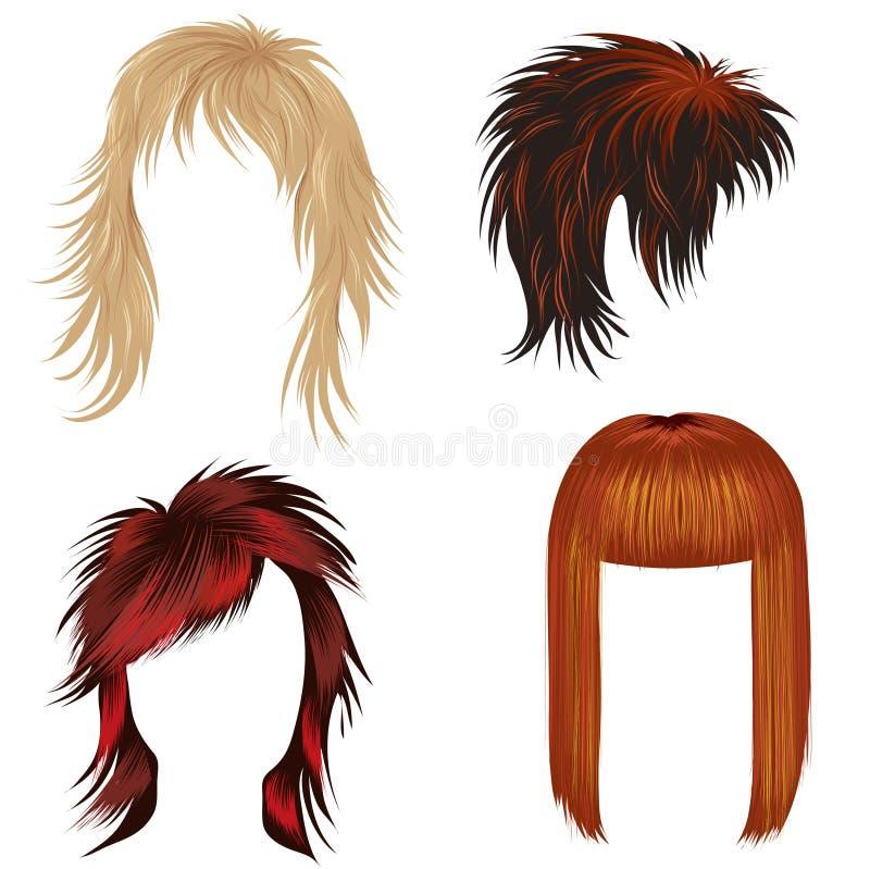 Jogo do vetor do cabelo na moda que denomina para a mulher ( ilustração do vetor