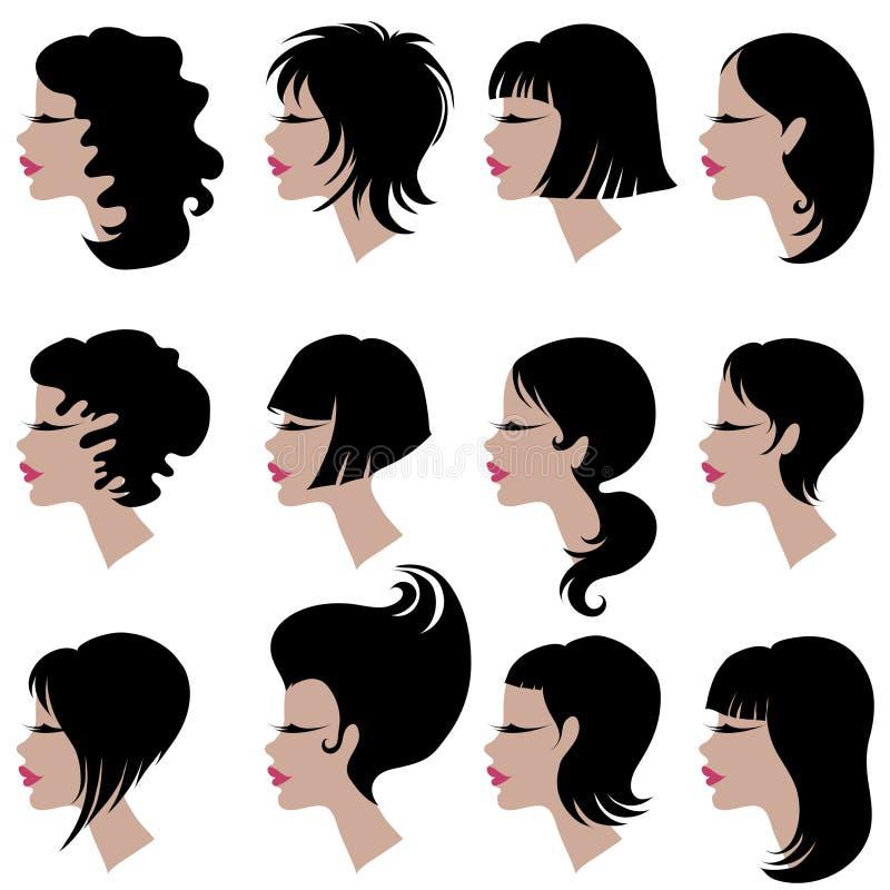 Jogo do vetor do cabelo preto que denomina para a mulher ilustração do vetor
