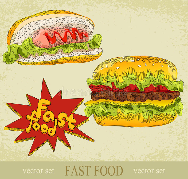 Jogo do vetor do vintage do fast food ilustração do vetor