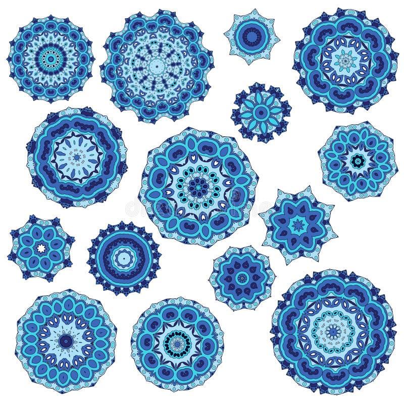 Jogo do vetor dos flocos de neve Elementos decorativos do Natal para o projeto do inverno ilustração stock