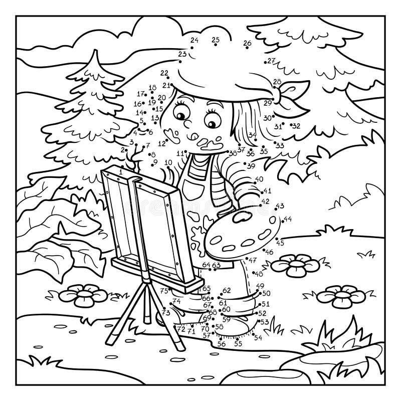 Jogo do vetor dos números: O artista da menina tira na natureza, ar livre ilustração royalty free