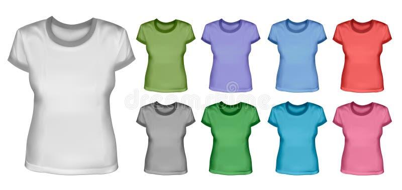 Jogo do vetor fêmea das camisas ilustração royalty free