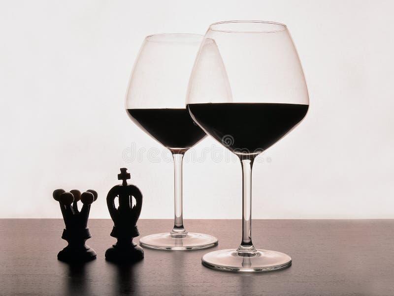 Jogo do vinho da xadrez foto de stock