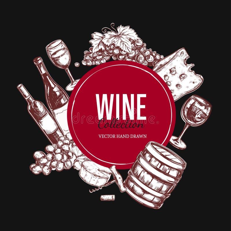 Jogo do vinho Elementos tirados mão 5 do vetor ilustração do vetor